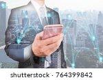 double exposure of businessman... | Shutterstock . vector #764399842
