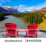 two red comfortable loungers by ... | Shutterstock . vector #764400586