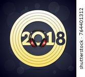 happy new year 2018 headphones... | Shutterstock .eps vector #764401312