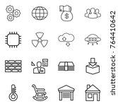 thin line icon set   gear ... | Shutterstock .eps vector #764410642