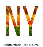ny word is written with leaves... | Shutterstock . vector #764416396