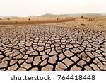 cracked dry land without water...   Shutterstock . vector #764418448