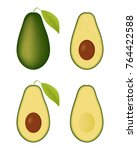 four types of avocado. vector... | Shutterstock .eps vector #764422588