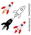 space rocket retro spaceship...   Shutterstock .eps vector #764424325