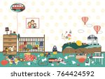 kids untidy and messy room.... | Shutterstock .eps vector #764424592