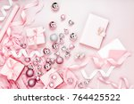 planner  with  christmas decor. ... | Shutterstock . vector #764425522