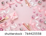 frame with christmas ball  gift ... | Shutterstock . vector #764425558