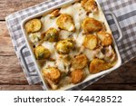 hot baked brussels sprouts with ... | Shutterstock . vector #764428522