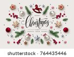 christmas postcard with... | Shutterstock .eps vector #764435446
