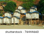 bungalows on arambol beach goa... | Shutterstock . vector #76444660