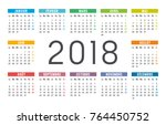 year 2018 colorful minimalist... | Shutterstock .eps vector #764450752
