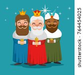 the three magic kings of orient ...   Shutterstock .eps vector #764454025