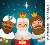 the three magic kings of orient ... | Shutterstock .eps vector #764454076