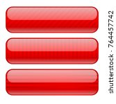red glass buttons with stripes. ... | Shutterstock .eps vector #764457742