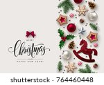 christmas decorative border... | Shutterstock .eps vector #764460448