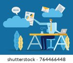 young businessman picking... | Shutterstock .eps vector #764466448