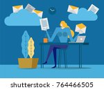 young business woman picking...   Shutterstock .eps vector #764466505