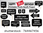 set of funny thirtieth birthday ...   Shutterstock .eps vector #764467456