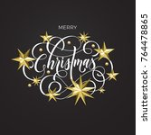 merry christmas golden...   Shutterstock .eps vector #764478865