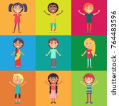 active and happy kids from... | Shutterstock . vector #764483596