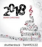 christmas card. musical... | Shutterstock .eps vector #764492122