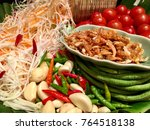 papaya salad ingredient a... | Shutterstock . vector #764518138