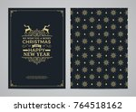 christmas greeting card design. ... | Shutterstock .eps vector #764518162