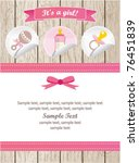 baby girl stickers on wood card | Shutterstock .eps vector #76451839