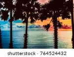 silhouettes of palm trees on... | Shutterstock . vector #764524432