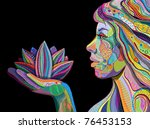 Woman Face With Multicolored...