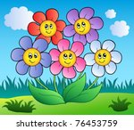 five cartoon flowers on meadow  ... | Shutterstock .eps vector #76453759