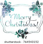 christmas label with silhouette ... | Shutterstock .eps vector #764543152