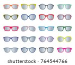 set of color glasses isolated.... | Shutterstock .eps vector #764544766