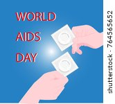 hiv   aids info. two man hands... | Shutterstock .eps vector #764565652