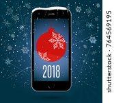 black touchscreen smartphone... | Shutterstock .eps vector #764569195