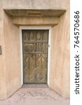 Small photo of USA, NM, Santa Fe, Canyon Road, Adobe House Door