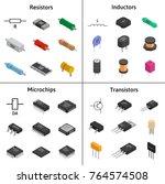 vector set of izometric... | Shutterstock .eps vector #764574508
