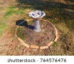 Backyard Concrete Birdbath