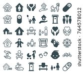 set of 36 family filled and... | Shutterstock .eps vector #764578012