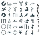 set of 36 athlete filled and... | Shutterstock .eps vector #764578045
