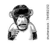 monkey wearing virtual reality... | Shutterstock .eps vector #764582152