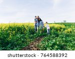 family dad mom and children in... | Shutterstock . vector #764588392