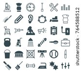 set of 36 equipment filled and... | Shutterstock .eps vector #764588512