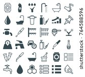 set of 36 drop filled and... | Shutterstock .eps vector #764588596