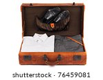 an old leather suitcase with
