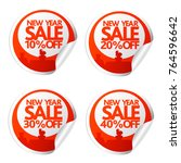 new year sale stickers 10 20 30 ... | Shutterstock .eps vector #764596642