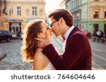 gentle kiss of a love couple on ... | Shutterstock . vector #764604646