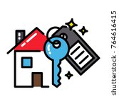mortgage house icon concept key ... | Shutterstock .eps vector #764616415