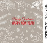 merry christmas and happy new... | Shutterstock .eps vector #764617336