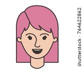 female face with mid lenght... | Shutterstock .eps vector #764622862